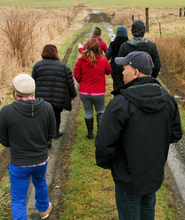 Diverse group walking at retreat